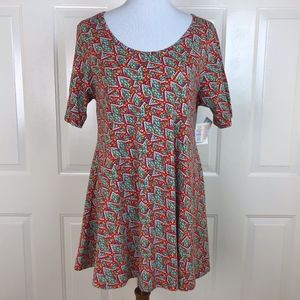 Lularoe Women's Red Graphic Perfect T Tunic Style